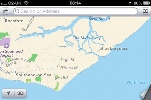 iOS6 Maps of Southend area - Example 2