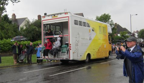 The BBC bus, filming and streaming the torch