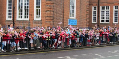 Schoolkids gather outside Chalkwell School