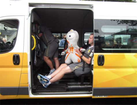 Mascot and Met Police catch a ride