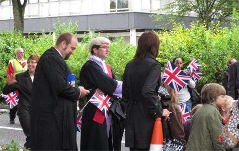 Crowds wait outside Southend Magistrates Court