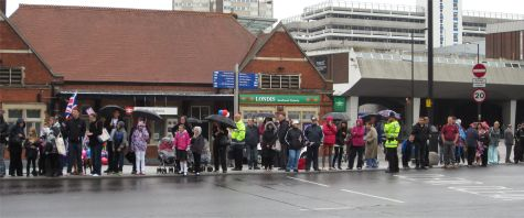 Crowds gather at Southend Victoria Station