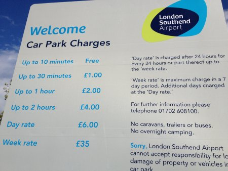 Southend Airport Short-stay Parking Prices as of April 2012