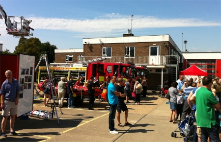 Crowds watching the demonstrations at Southend Fire Station