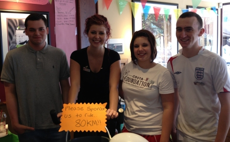 The fundraising baristas from Costa Coffee, Leigh-on-Sea Broadway