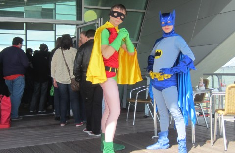 Batman and Robin, crowd control at the exhibition on the pier