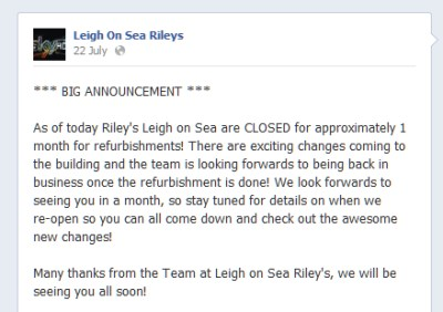 The Fate of Rileys Superbowl, Leigh-on-Sea
